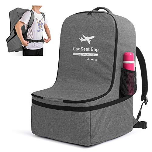 Luxja Kindersitze Transporttasche, kindersitz Tasche Flugzeug, Kindersitze Reisetasche mit Rucksackriemen für Reise und Unterwegs, Grau