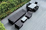 Genuine Ohana Outdoor Sectional Sofa and Dining Wicker Patio Furniture Set (14 pc Set) with Free Patio Cover (Gray)