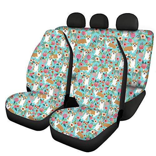 Howilath Juego completo de fundas antideslizantes para asiento de coche con diseño de animales de Corgi, ajuste universal, parte delantera y trasera, cómodo cojín de tela transpirable