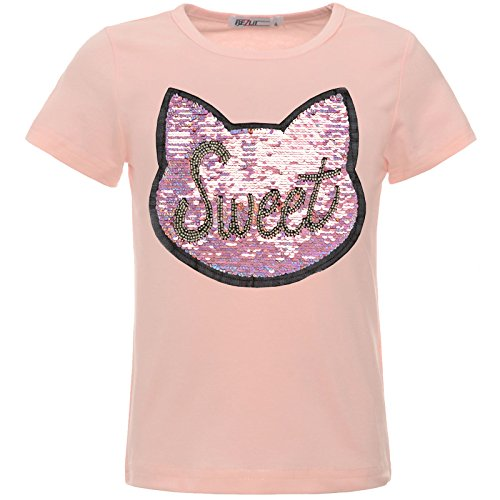 BEZLIT Mädchen Kinder T-Shirt Wende-Pailletten Glitzer Katze Oberteil 22549 Rosa 140