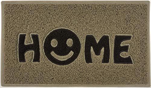 Nicoman Home Smiley Face Vinyl Schlingen Fußmatte, Vinylschlingen, Beige mit braunen Einsätzen, 75x44cm
