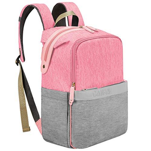 CANWAY Baby Wickeltasche Wickelrucksack Babytasche für Reise, Multifunktionale Windeltasche mit Thermotasche, Große Kapazität Wasserdicht Babyrucksack für Mama und Papa (Pink&Grau)