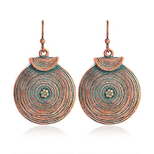 Njuyd - Pendientes de moda, diseño retro en espiral, con textura de disco de agua, color bronce