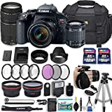 Canon EOS Rebel T7i 24.2 MP DSLR Camera with Canon EF-S 18-55mm f/4-5.6 is STM Lens + 75-300mm III Lens + 2 Memory Cards + 2 Aux Lenses + 50' Tripod + Accessories Bundle (24 Items)