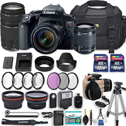 "Canon EOS Rebel T7i 24.2 MP DSLR Camera with Canon EF-S 18-55mm f/4-5.6 is STM Lens + 75-300mm III Lens + 2 Memory Cards + 2 Aux Lenses + 50"" Tripod + Accessories Bundle (24 Items)"