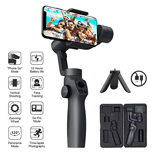 FUNSNAP Handheld Gimbal Stabilizer for iPhone 11Pro/X/XS Android Smartphone Vlog Youtuber Live Video Record with Sport Inception Mode Face Object Tracking(Upgraded 3-Axis Capture2)