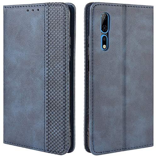 HualuBro Handyhülle für ZTE Axon 10 Pro Hülle, Retro Leder Stoßfest Klapphülle Schutzhülle Handytasche LederHülle Flip Hülle Cover für ZTE Axon 10 Pro 5G Tasche, Blau