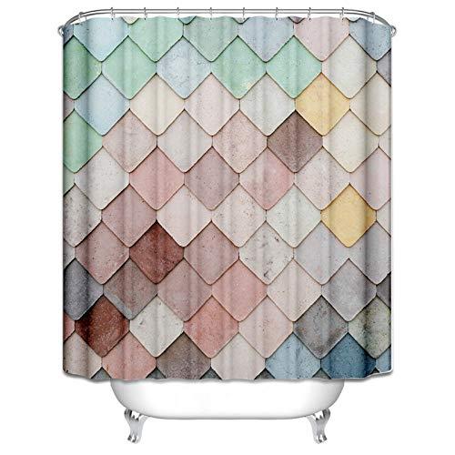 AmDxD Waschbar Polyester Duschvorhang Quadrat Gitter Design Badewannenvorhang Digitaldruck Bad Vorhang mit Duschvorhangringen für Badezimmer Badewanne Bunt