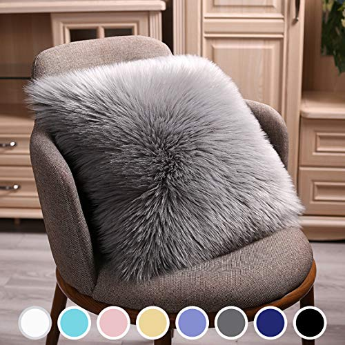 junovo Modern Style Chair Decorative Faux Fur Pillow Case, Backing Hold Pillow Case/Seat Sofa Cushion Square Throw Pillow Cover, 18 x 18inch Grey