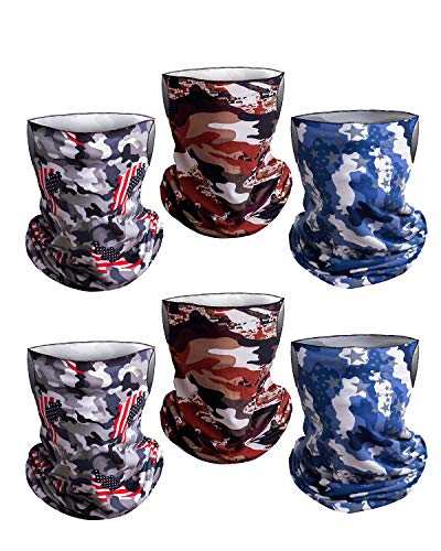 6 Pieces Camouflage Bandanas Face Scarf with Ear Loops for Men Women, Jungle Face Cover Balaclava Neck Gaiter for Outdoors Sports Riding Motorcycle, Headband Adjustable Multipack…