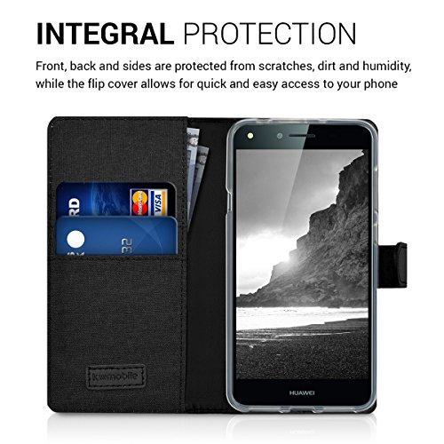 kwmobile Huawei Y6 II Compact (2016) Hülle - Kunstleder Wallet Case für Huawei Y6 II Compact (2016) mit Kartenfächern und Stand - Anthrazit Schwarz - 4