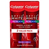 Colgate Optic White Renewal Teeth Whitening Toothpaste with Fluoride, Enamel Strength - 3 ounce (2 Pack)