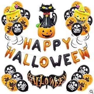 39 Piezas Juego de Decoración de Halloween,Decoracion Halloween Decoraciónes Casa Fiesta de Miedo Globos Halloween Decoration Kit Guirnaldas Calabaza y Arañas Garland Decoración para Fiestas