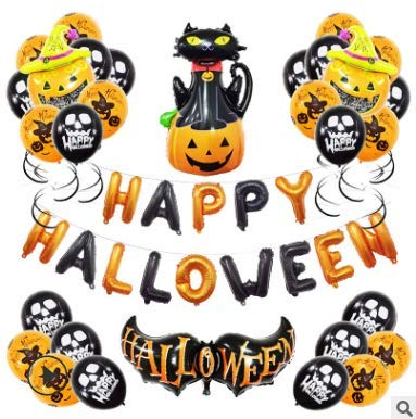 Hallowen Decorazioni 39 Pezzi Palloncini Halloween Kit,Decorazioni per Halloween/Festoni Halloween Turbinii Sospesi Palloncini Arancioni e Neri Decori Halloween
