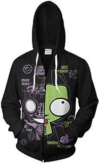Men's Zim Gir Doom Inspired Zip up Hoodie 3D Printing Sweatshirt Casual Adult Zipper Jacket Green