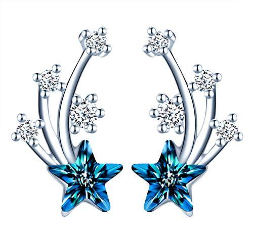 MicLee S925 Pendientes de estrella de plata esterlina Preciosa circonita cúbica y cristales azules adornados con estrellas aptas para mujeres