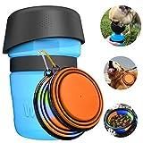 Tragbare Hund Trinkflasche und Wasser Schüssel 2-in-1 mit 2 Faltbar Hunde Reisenapf