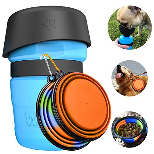 Tragbare Hund Trinkflasche und Wasser Schüssel 2-in-1 mit 2 Faltbar Hunde Reisenapf, Katzen Hunde Wasserflasche wassernapf faltbar für Unterwegs, Wandern, Draussen, BPA Frei,520ml flasche,350ml Napf
