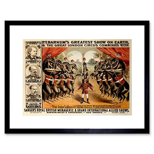Wee Blue Coo Circus Barnum Dansende Paarden Grootste Show Aarde Ukad Omlijst Muur Art Print