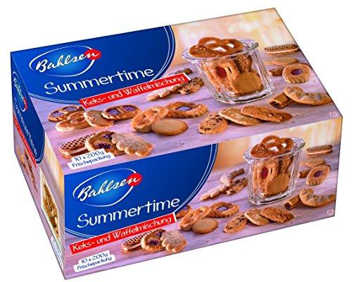 BAHLSEN Summertime 10 x 200 g Keks- und Waffelmischung – Großpackung aus leckeren Keksen und Waffeln ohne Schokolade - feines Gebäck im praktischen Tray