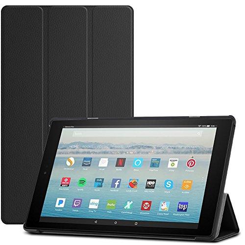 INFILAND Hülle für Das Neue Fire HD 10 Tablet (7th Gen.- 2017 Modell) Ultra Slim Smart Schutzhülle mit Auto Schlaf/Wach Cover für Das Neue Fire HD 10 2017 Tablet mit Alexa Hands-Free(Schwarz)