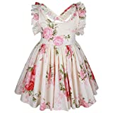 Somlatrecy Girls' Vintage Floral Party Dress Backless Cotton Sundress 6 Years Cream