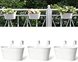 Dahey Metal Iron Hanging Flower Pots for Railing Fence Hanging Bucket Pots Countryside Style Window Flower Plant Holder with Detachable Hooks Home Decor,White,3 Pcs