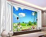 WYJ699 sala TV fondo pared fantasía primavera 3d ventana cortina sauce sauce crisantemo TV fondo pared Papel tapiz no tejido Papel tapiz 3D Decoración-400cm×280cm