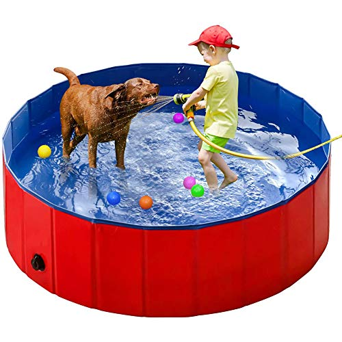 PVC Pet Swimming Pool Portable Foldable Pool Dogs Cats Bathing Tub Portable PVC Pet Bathing Tub Children Ball Pits Kiddie Pool for Dogs Cats and Kids