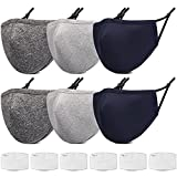 GYSYELL 3-Ply Face Cloth Mask Breathable Face Mask with Nose Wire & Adjustable Ear Loops,5 Pcs Reusable Pattern Face Mask for Women, Washable Designer Print Cloth Face Mask for Men (V5)