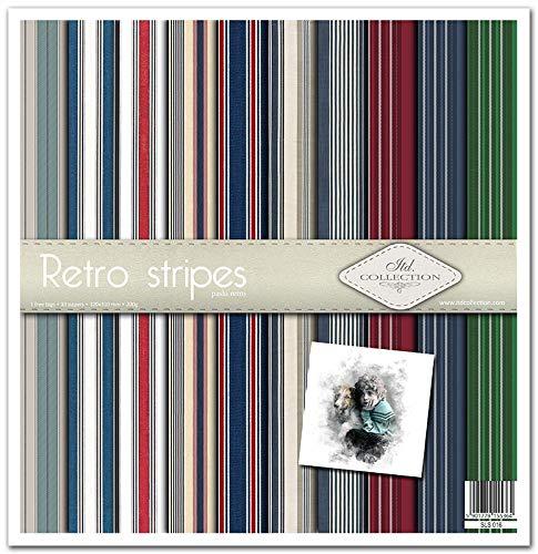 ITD Collection - Paquete de álbumes de recortes, papel decorativo, papel de 310 x 320 mm (rayas retro)