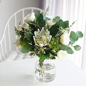 DIY Simplicity Gardening Party Festive Bridal Bouquet, Faux Emperor Flowers,Silk King Protea DIY Flower Arrangement Fake Emperor Flowers(red)