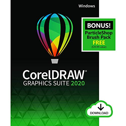 CorelDRAW Graphics Suite 2020 | Graphic Design, Photo, and Vector Illustration Software | Amazon Exclusive includes Free ParticleShop Brush Pack [PC Download] [Old Version]
