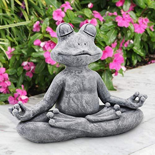Goodeco Meditating frog Statue ornament,Buddha Zen yoga frog garden statue figurine- Indoor/Outdoor Garden Gnome Sculpture for Home,Patio,Deck,Yard Art Decoration,32.5cm,Poly Resin,Grey Stone finish