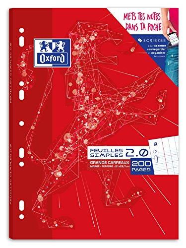 Oxford Feuilles Simples Grands Carreaux 21 x 29,7cm 200 Pages Seyès Perforées A4