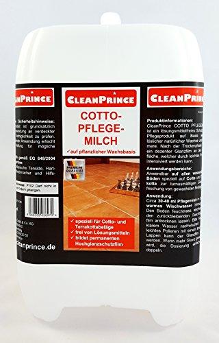 CleanPrince 5 Liter Cotto Pflegemilch Terrakotta Terracotta Naturstein Terrakottaplatten Terrakottafliesen Ton Fliesen Finish Wax auf Basis natürlicher Wachse Reiniger Reinigungsmittel Glanz Politur