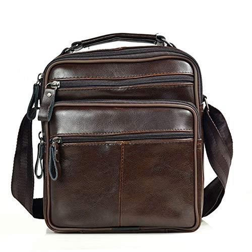 Mdsfe Herren Leder Handtasche Herren hochwertige Rindsleder Crossbody Herren Business Tasche mittlere Aktentasche Handtasche - Coffee-ms