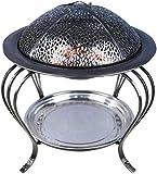 KAYBELE Fuego Bowl Pit Basket Steel de Acero Inoxidable Jardín Grill Brasero BBQ Indoor Charcoal Fire Pit Fool Carbon Estufa Hogar Calefacción Estufa Al Aire Libre Barbacoa 32CM-32CM