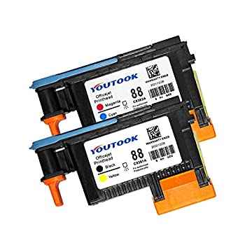 2 Pack HP88 Printhead Replacement for HP C9381A C9382A for Officejet Pro K5400 L7550 L7580 L7590 L7650 L7680 L7750 L7780 L7790 Printer 1BK/Y 1M/C  2PK