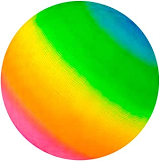 Kicko Rainbow Playground Ball - 16 Inch Neon Colored Giant Play Ball - Perfect Accessory on Parties, Events, Gatherings, Beaches, Road Trips, and Playgrounds - for Kids of All Ages