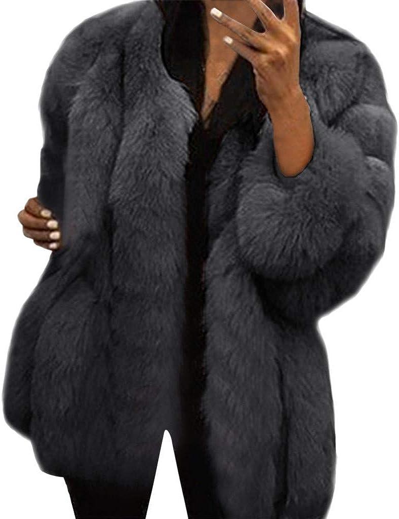 Sherpa Jacket Women Winter Coats Crewneck Long Sleeve Cardigan Faux Fur Warm Casual Coat Outerwear