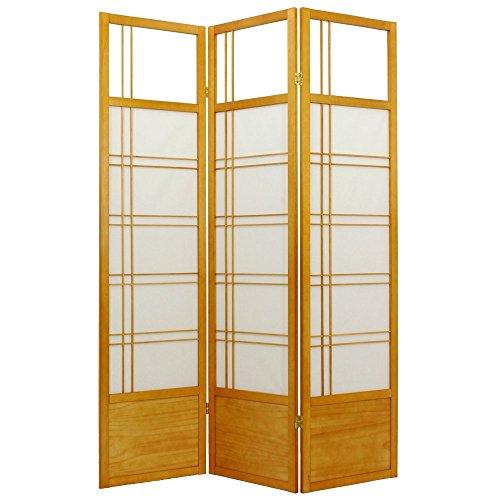 ORIENTAL Furniture Asian Window Blinds, 6-Feet Kumo Japanese Shoji Privacy Screen Room Divider, 3 Panel Honey