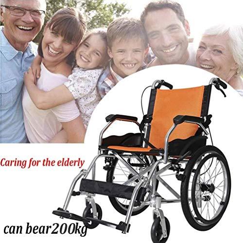 Silla de ruedas autopropulsada plegable ligera Aluminio silla de ruedas, doblar la carretilla Luz portátil discapacitados / ancianos autopropulsado silla de ruedas Vespa para usuarios mayores,discapac