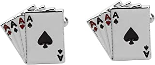 CHOORO Four Aces Poker Steel Las Vegas Gamble Playing Cards Wedding Cufflinks Playing Cards Poker Cufflinks