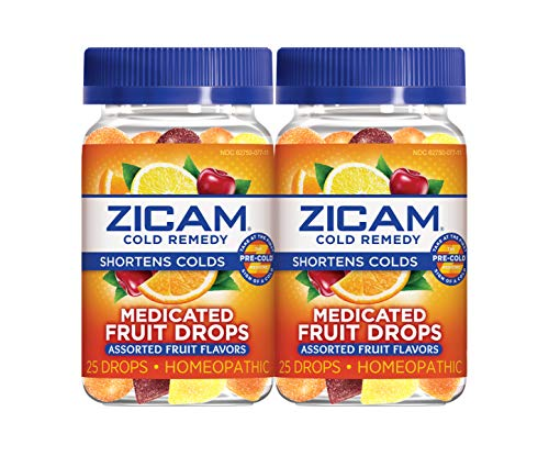 Zicam Cold Remedy Zinc Medicated Fruit Drops, Assorted Fruit, 25 Count (Pack of 2)