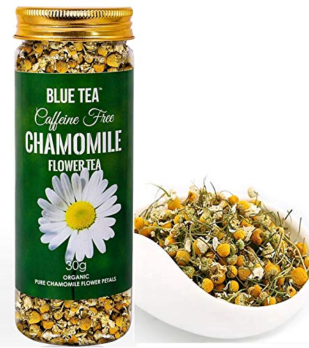 BLUE TEA - Chamomile Flower Tea | Pure Whole Flower Buds of Chamomile 30g - 100 Cups | Sleep Tea - Herbal Tea - Caffeine Free |
