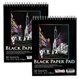 US Art Supply 9 in. x 12 in. Premium Black Heavyweight Paper Spiral Bound Sketch Pad, 140gsm, 64 Pound, 30 Sheets (Pack of 2 Pads)