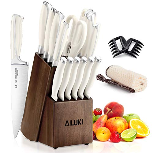 Knife Set, Kitchen Knife Set with Block, AILUKI 19 Pieces Stainless Steel Knife Set, Ergonomic Handle for Chef Knife Set with Gift Box, Ultra Sharp, Best Choice for Cooking
