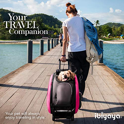 ibiyaya Multifunction Pet Carrier + Backpack + CarSeat + Pet Carrier Stroller + Carriers with Wheels for Dogs and Cats All in ONE (Pink)