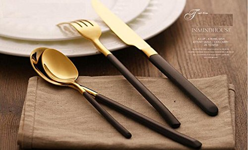 48 Pieces Stainless Steel Flatware Set Knife Fork Dinner Soup Spoon Dessert Tea Server for Home Kitchen Restaurant Hotel ( Black + Gold)